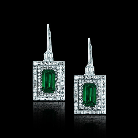 Emerald and Carre Diamond Earrings