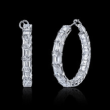 Emerald Cut Diamond Hoop Earrings