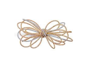 Medium Pink and White Diamond Bow Pin