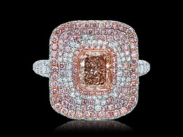 Radiant Brownish-Pink Diamond Ring