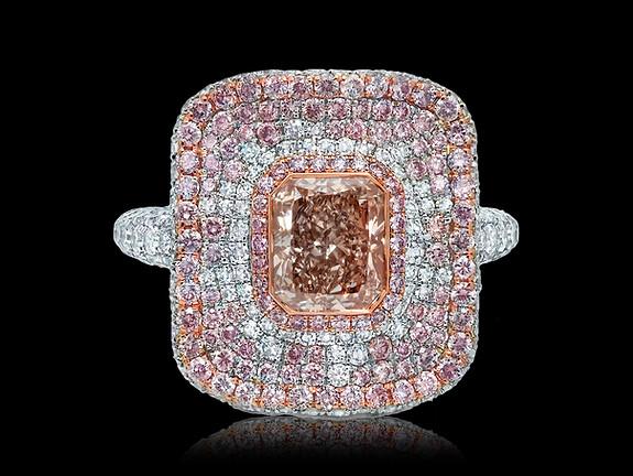 Radiant Brownish-Pink Diamond Ring