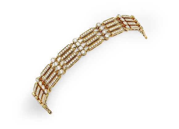 White Diamond Gate Bracelet -  18kt Yellow Gold