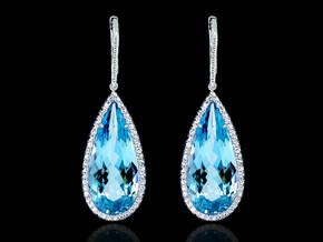 Microset Pear Shaped Aquamarine Earrings
