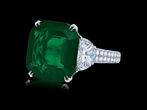 Cushion Colombian Emerald Ring