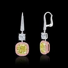 Fancy Intense Yellow-Green Cushion Diamond Earrings