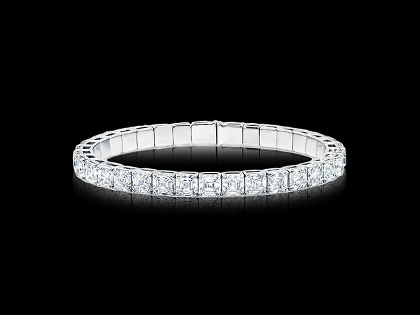 Asscher Diamond Spring Wire Bangle