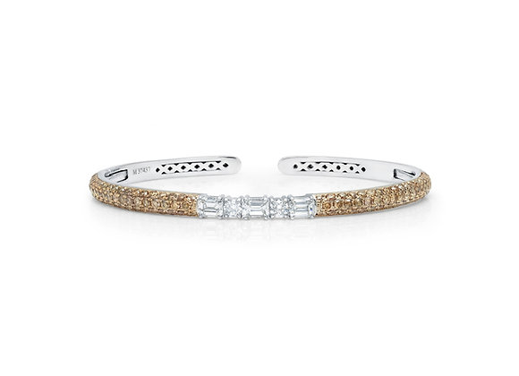 Cognac Diamond Clip-On Bangle - 18kt White Gold