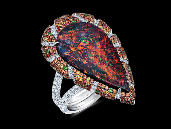 Black Opal Pear Ring