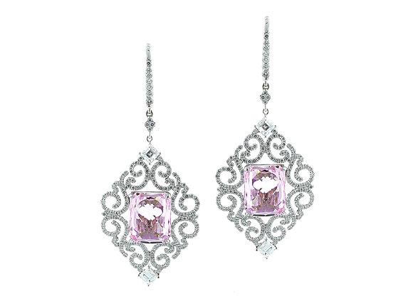 Pink Kunzite Vintage Earrings