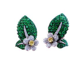 Tsavorite Flower Ivy Earrings