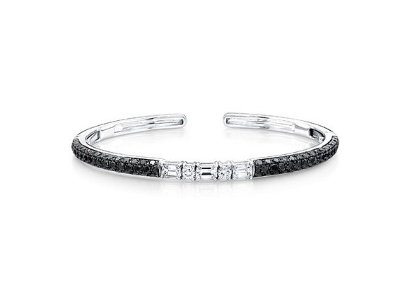 Black Diamond Clip-On Bangle - 18kt White Gold