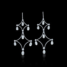 Diamond Briolette Chandelier Drop Earrings