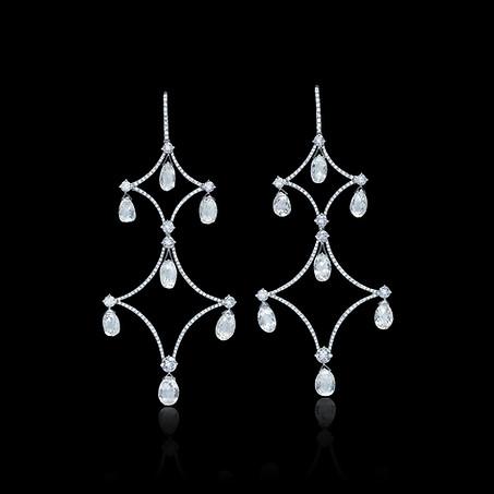 Diamond Briolette Chandelier Drop Earrings