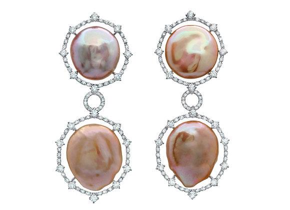 Baroque Button Pearl Earrings
