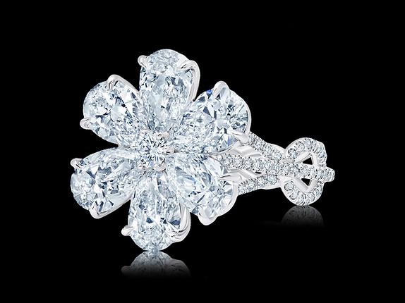 Pear Shaped Diamond Flower Ring