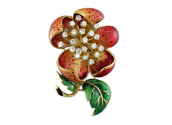 Orange Flower Pin