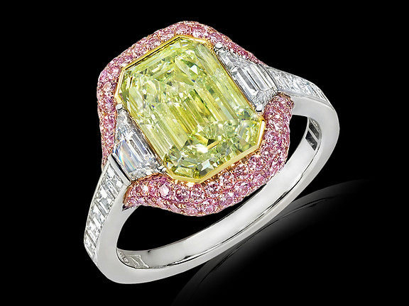 Emerald Cut Yellow-Green Diamond Ring