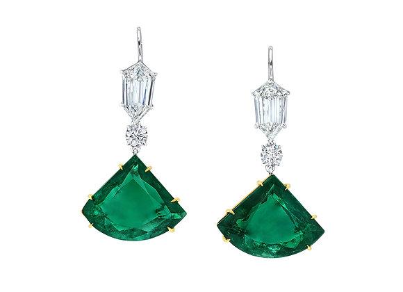 Emerald Fan Earrings