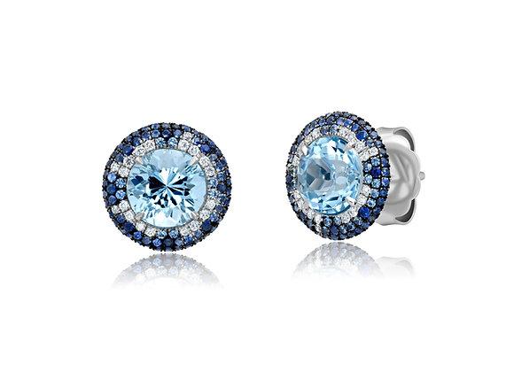 Aquamarine Button Earrings