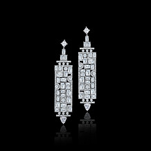 Emerald Cut Diamond Mosaic Plaque Earrings