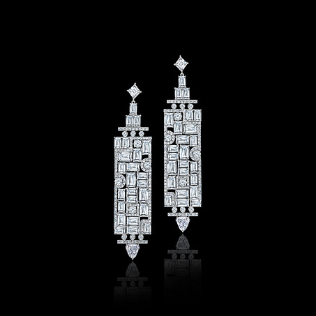 Emerald Cut Diamond Mosaic Plaque Earrings