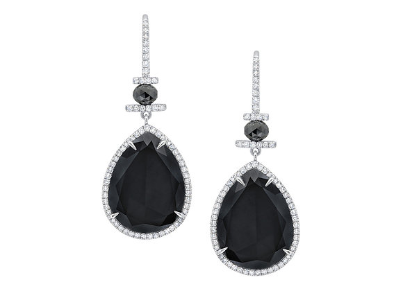 Pear Black Diamond Earrings
