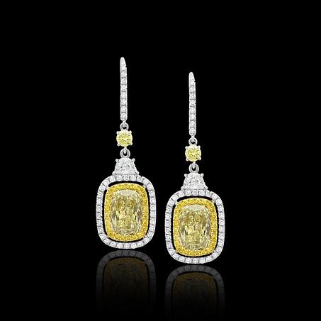 Fancy Cushion Yellow Diamond Earrings