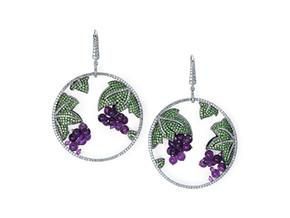 Grape Ivy Circle Drop Earrings