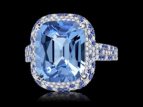 Multicolored Pastel Blue Sapphire Ring
