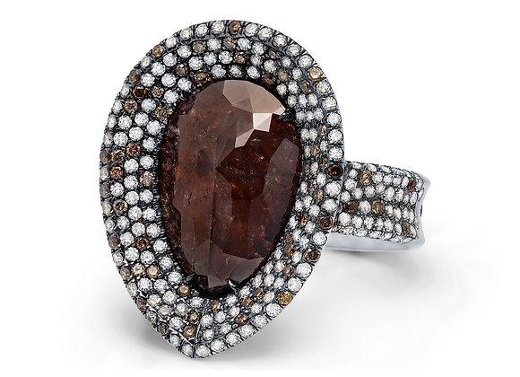 Pear-Shaped Raw Red Diamond Ring Martin Katz