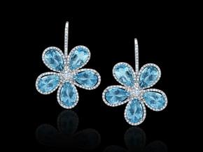 Aquamarine Flower Earrings