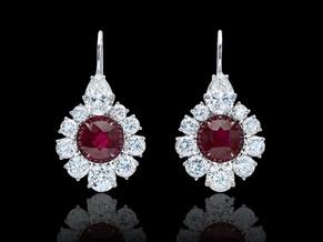 Round Burma Red Ruby Flower Earrings