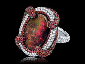Black Opal Swirl Ring