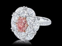 Oval Diamond Fancy Brownish-Pink Diamond Ring