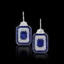 Blue Sapphire Geometric Paddle Earrings