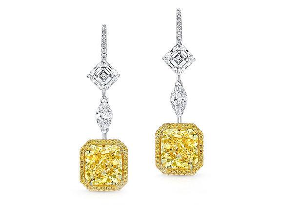 Yellow Asscher & White Marquise Diamond Drop Earrings