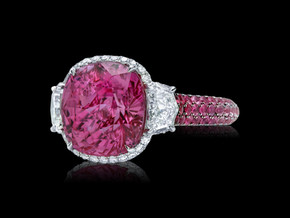 Cushion Shaped Pink Sapphire Ring