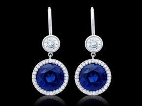 Round Blue Sapphire Earrings