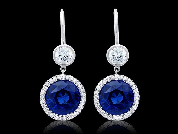 Round Blue Sapphire Earrings