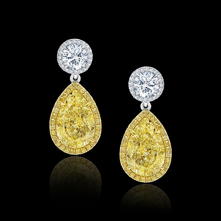 Yellow Pear Shaped Diamond Earrings