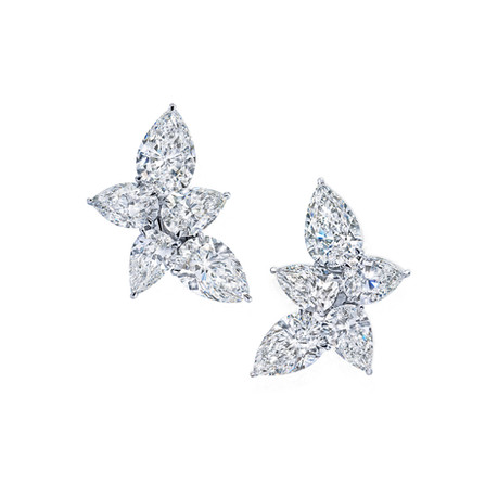 Pear Shaped Diamond Cluster Earrings Martin Katz