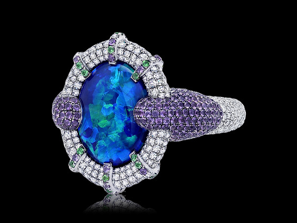 The Royal Black Opal Ring
