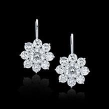 Flower Motif Round Diamond Earrings