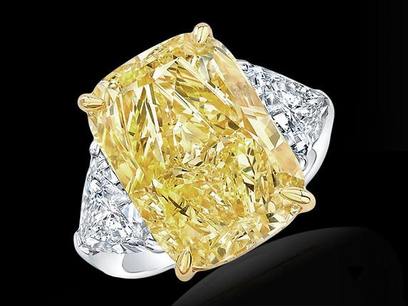 3-Stone Yellow Diamond Ring
