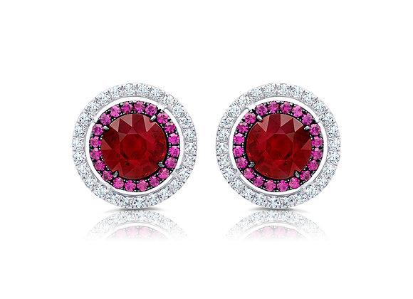 Ruby Target Stud Earrings