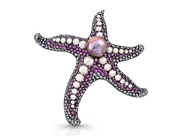 Pink Sapphire Starfish Pin