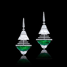 Colombian Cabochon Half Moon Emerald Earrings