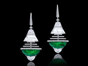 Colombian Cabochon Half Moon Emerald Earrings