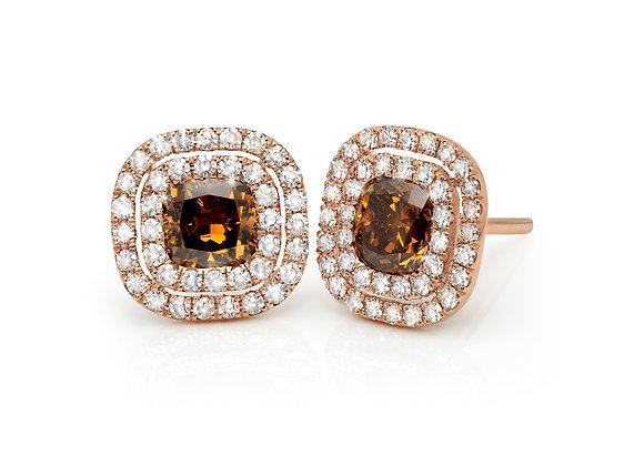Fancy Cognac Diamond Button Earrings