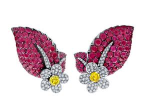Ruby Flower Ivy Earrings